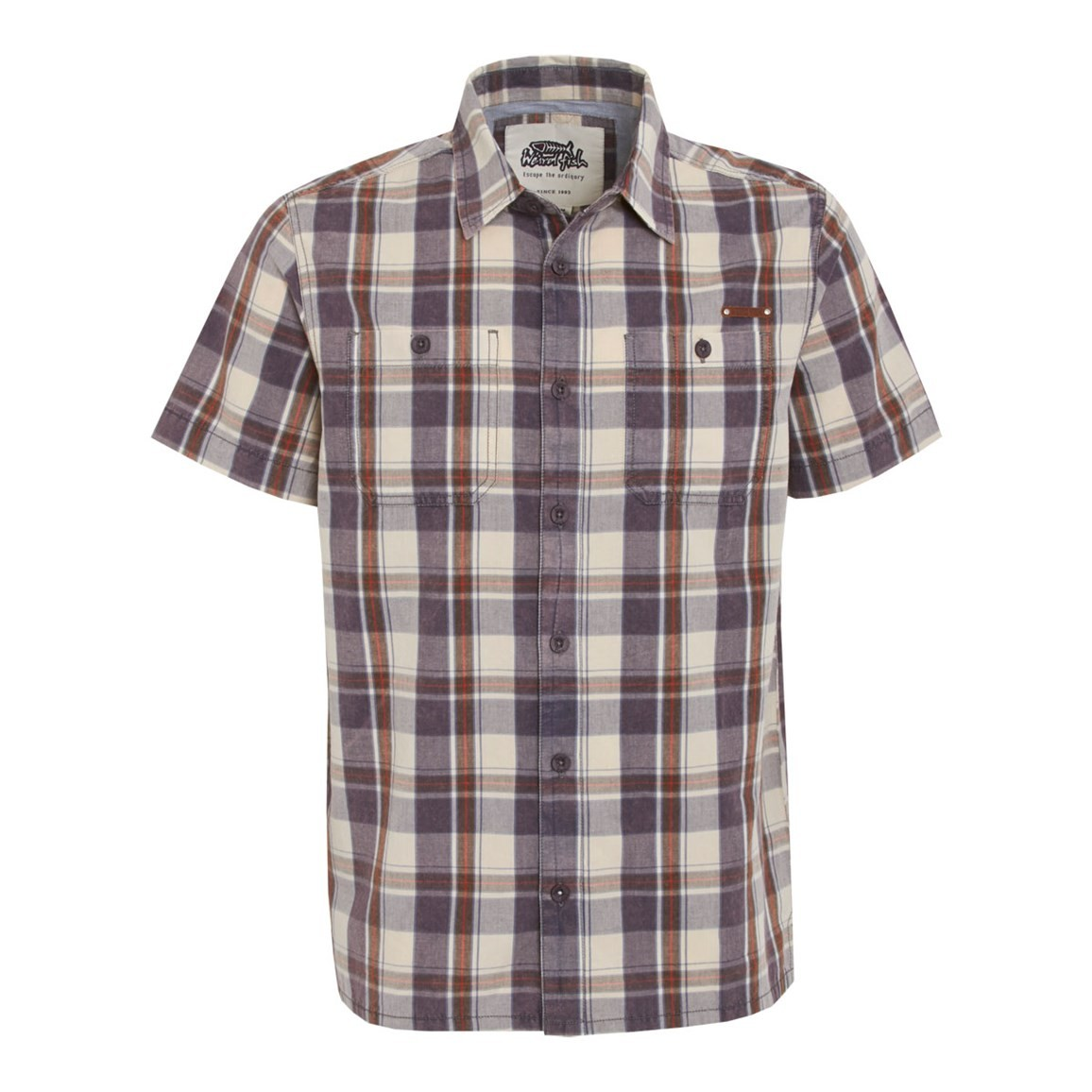 Weird Fish Fjord Short Sleeve Oxford Check Shirt Cadet Blue