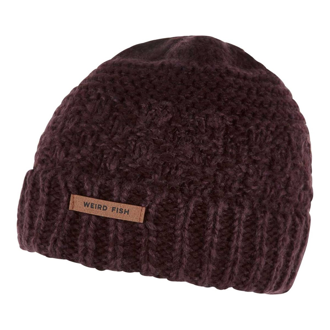 Weird Fish Rusutsu Cable Knit Beanie Mulled Wine