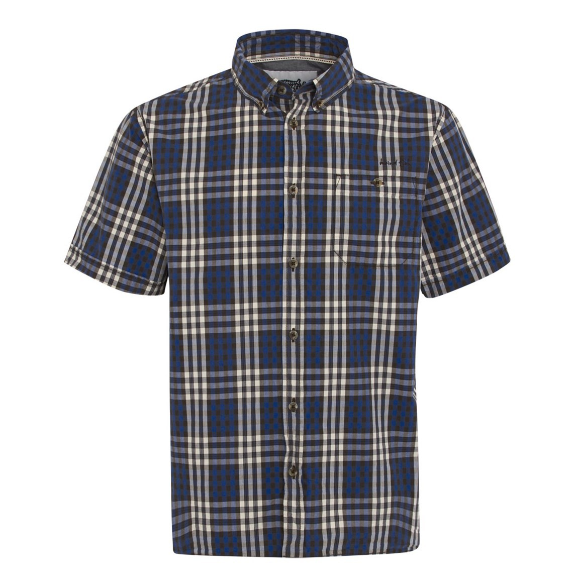 Weird Fish Jutland Short Sleeve Check Shirt True Blue