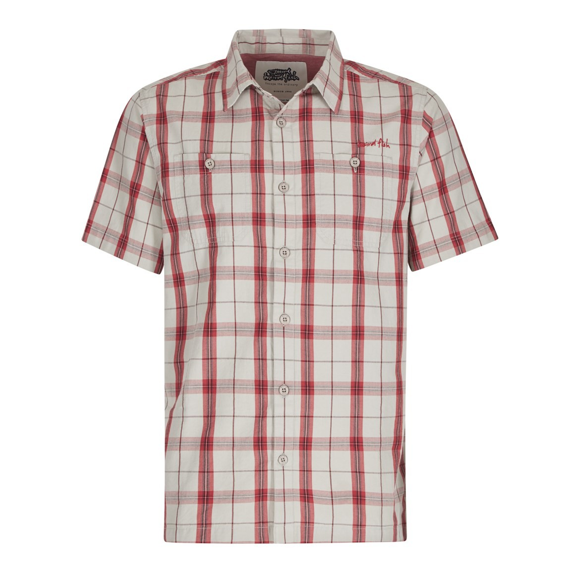 Weird Fish Farley Short Sleeve Check Shirt Jester Red