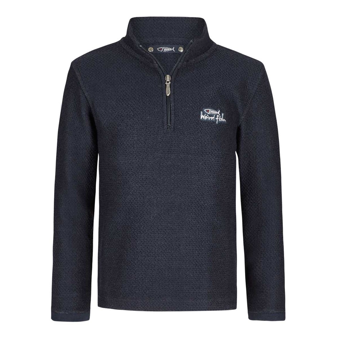 Weird Fish Texas Boy's 1/4 Zip Macaroni Navy Size 5-6