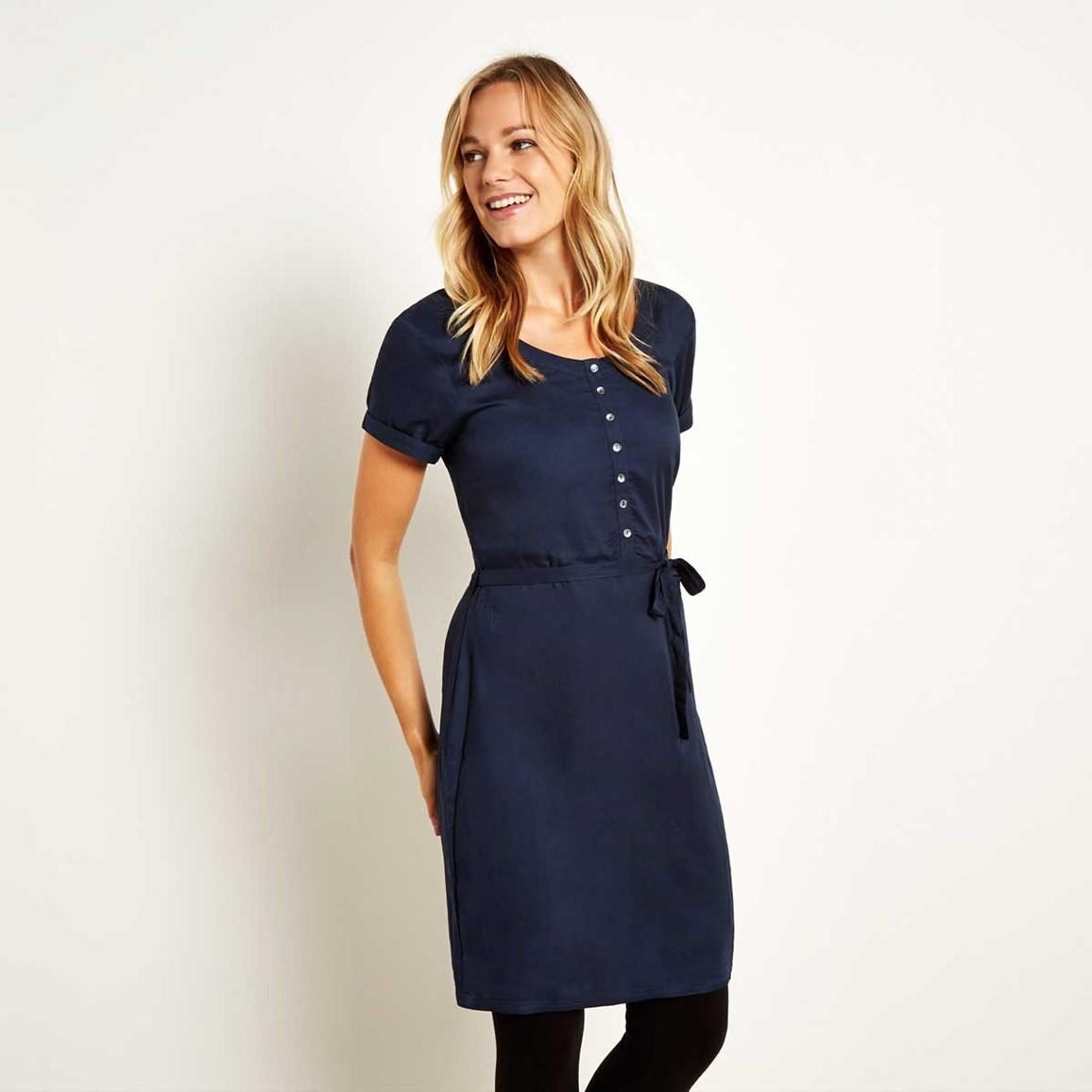 Weird Fish Aurelia Button Down Shift Dress Dark Navy Size 10