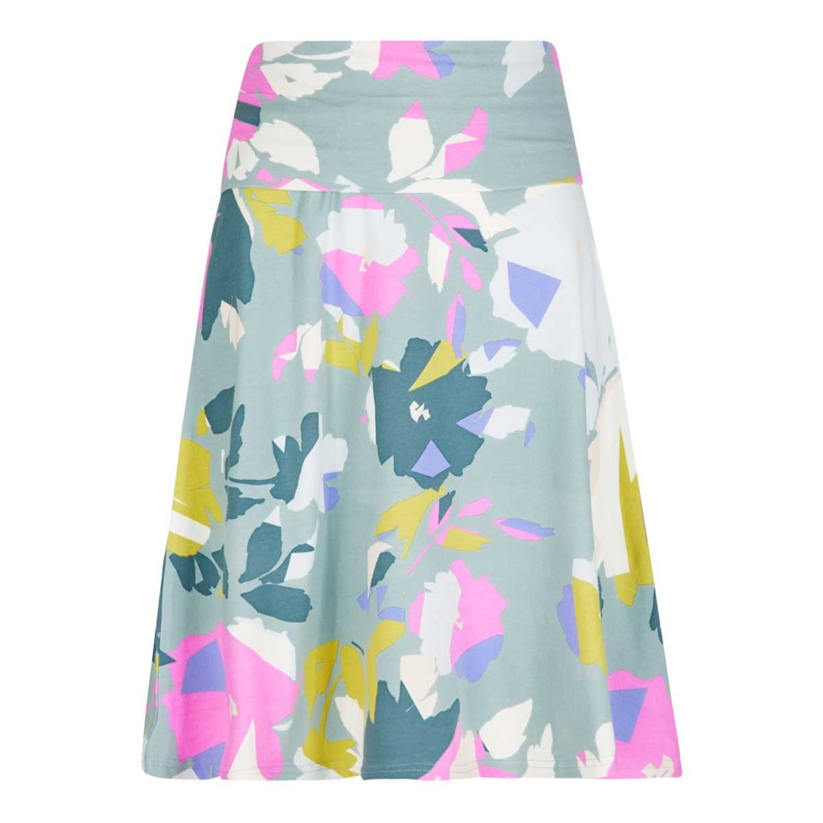 Weird Fish Malmo Printed Jersey Skirt Faded Jade