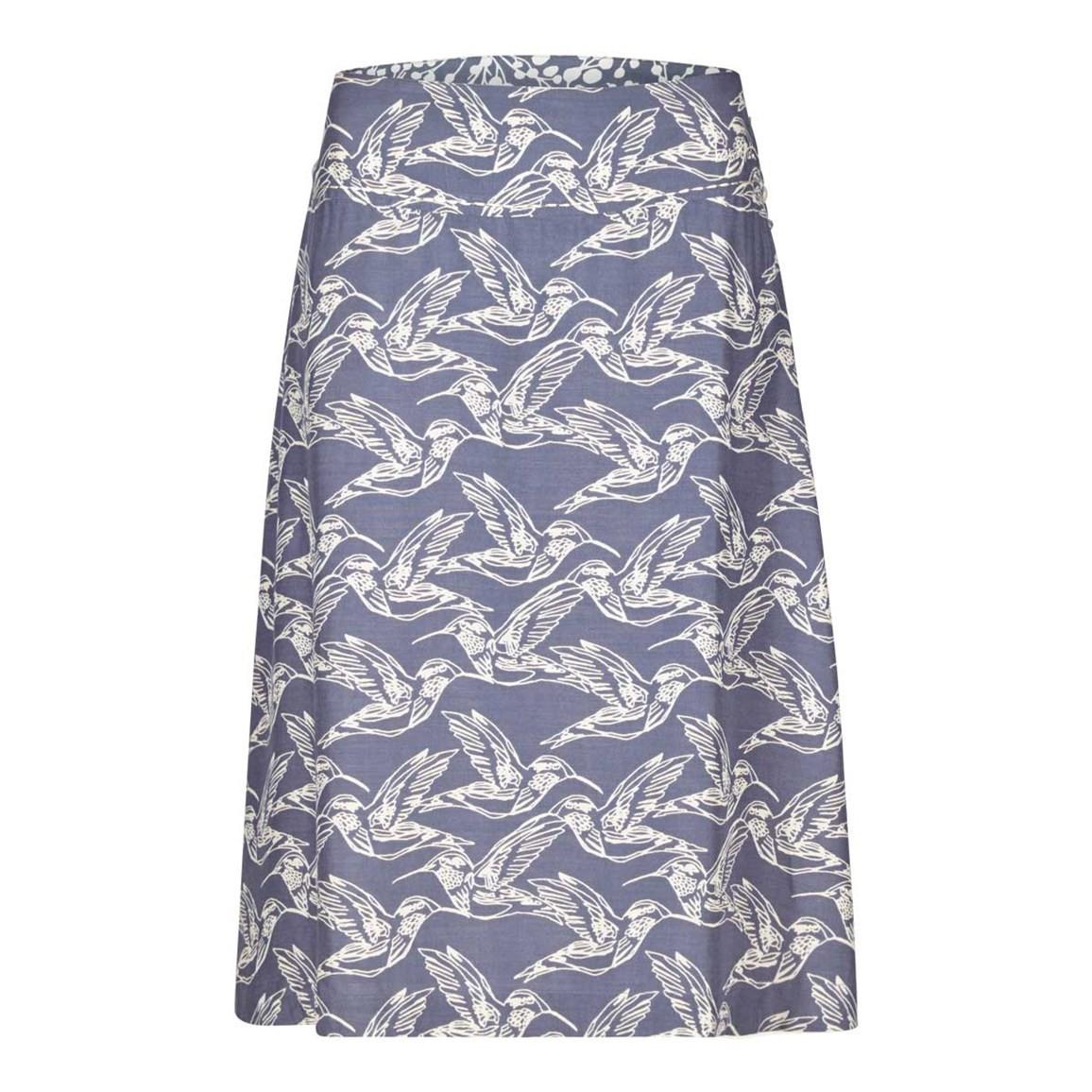 Weird Fish Ditte Reversible Printed Lightweight Skirt Denim