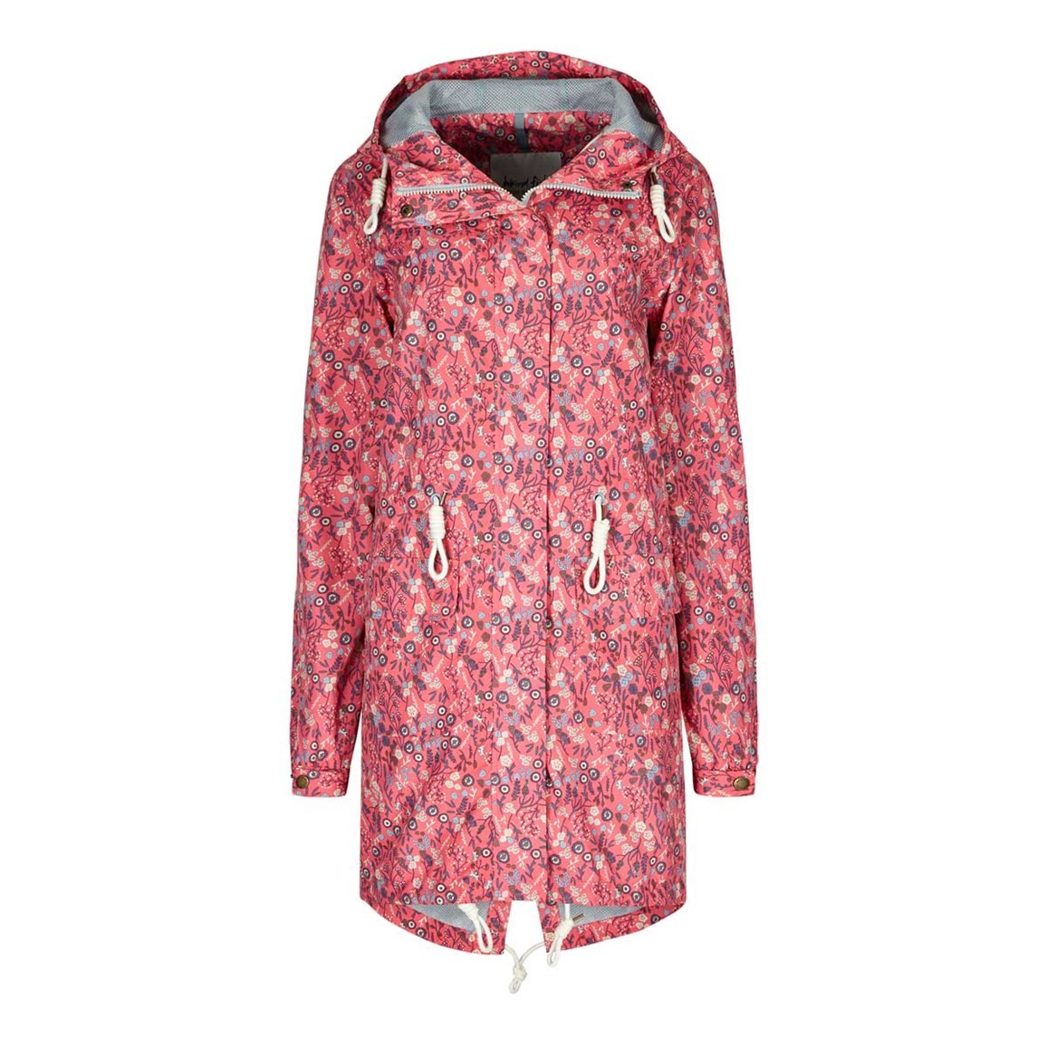 Weird Fish Manitou Printed Showerproof Parka Jacket Hot Pink
