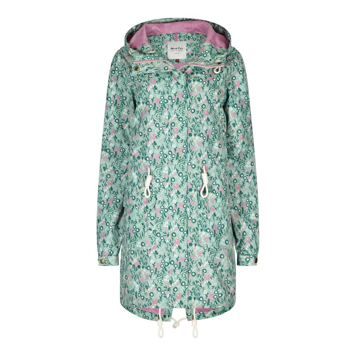 Weird Fish Manitou Printed Showerproof Parka Jacket Faded Jade