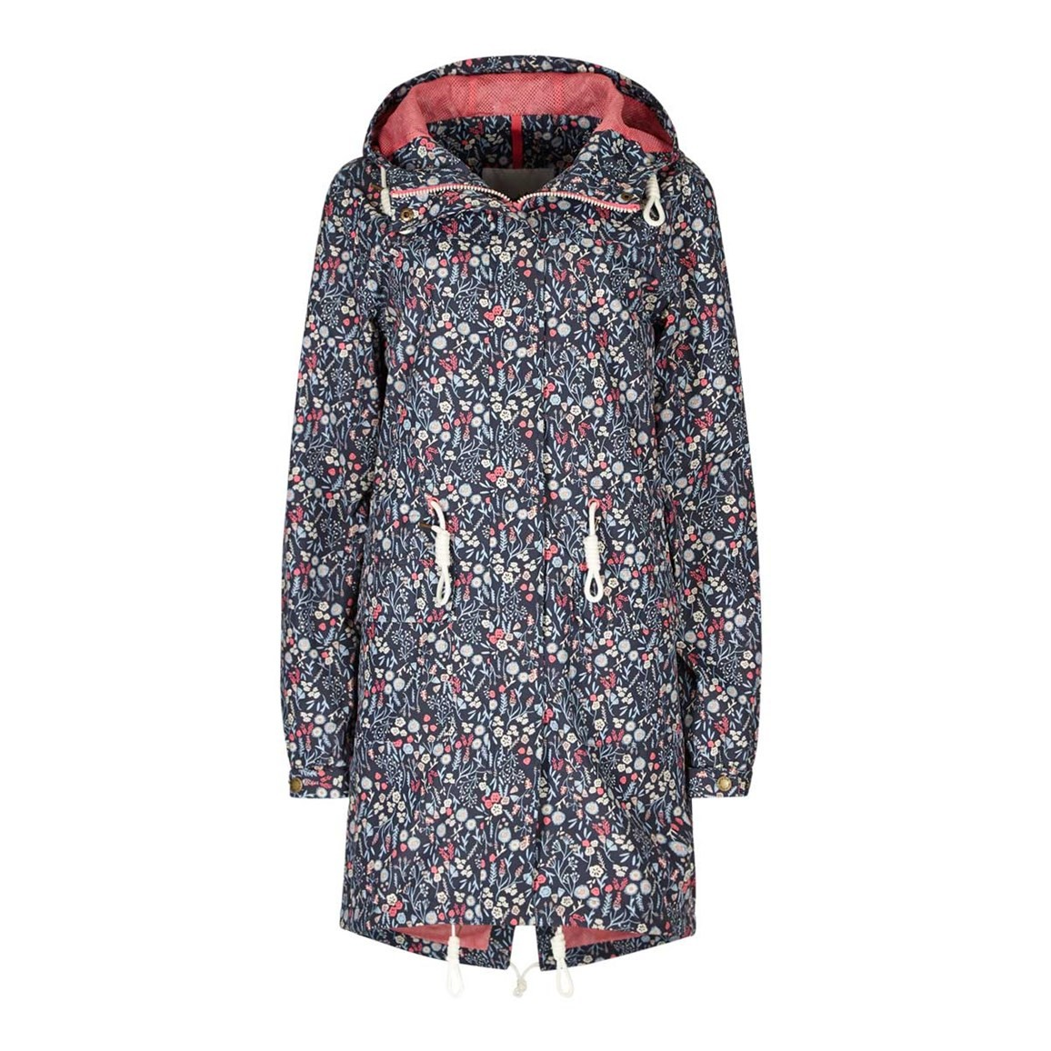 Weird Fish Manitou Printed Showerproof Parka Jacket Navy