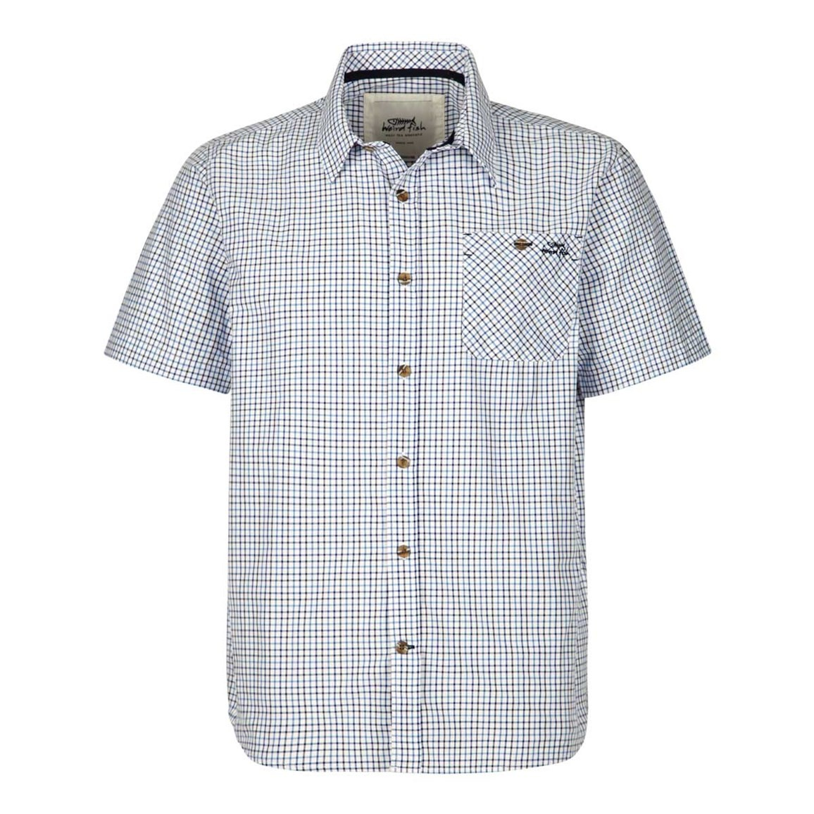Weird Fish Charles Short Sleeve Check Shirt Dark Navy