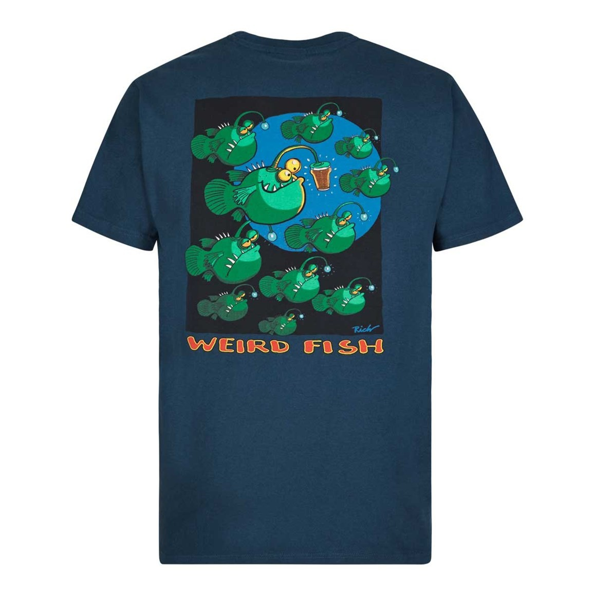 Weird Fish Anglers Artist T-Shirt Moonlight Blue