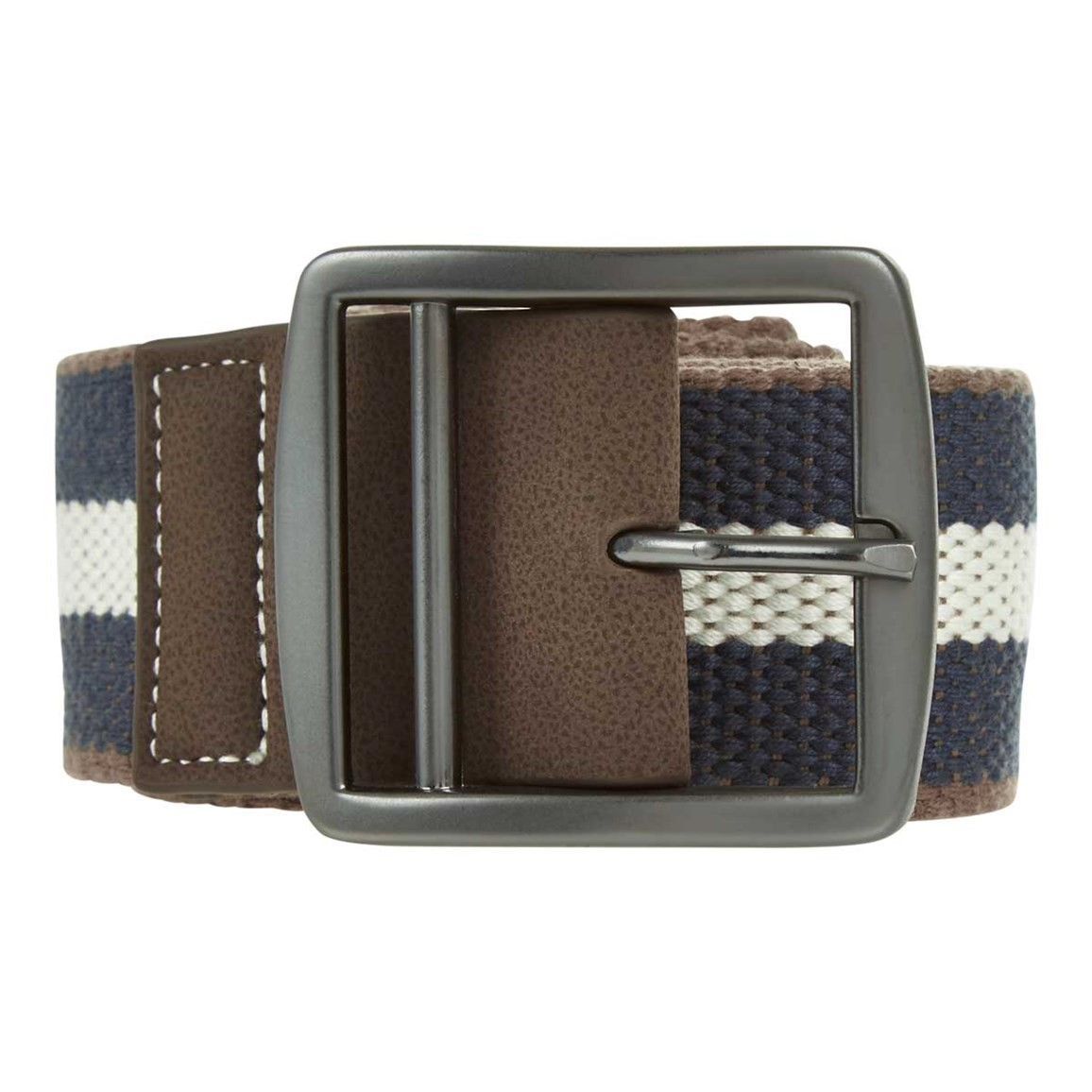 Weird Fish Grove Striped Fabric Webbing Belt Moonlight Blue