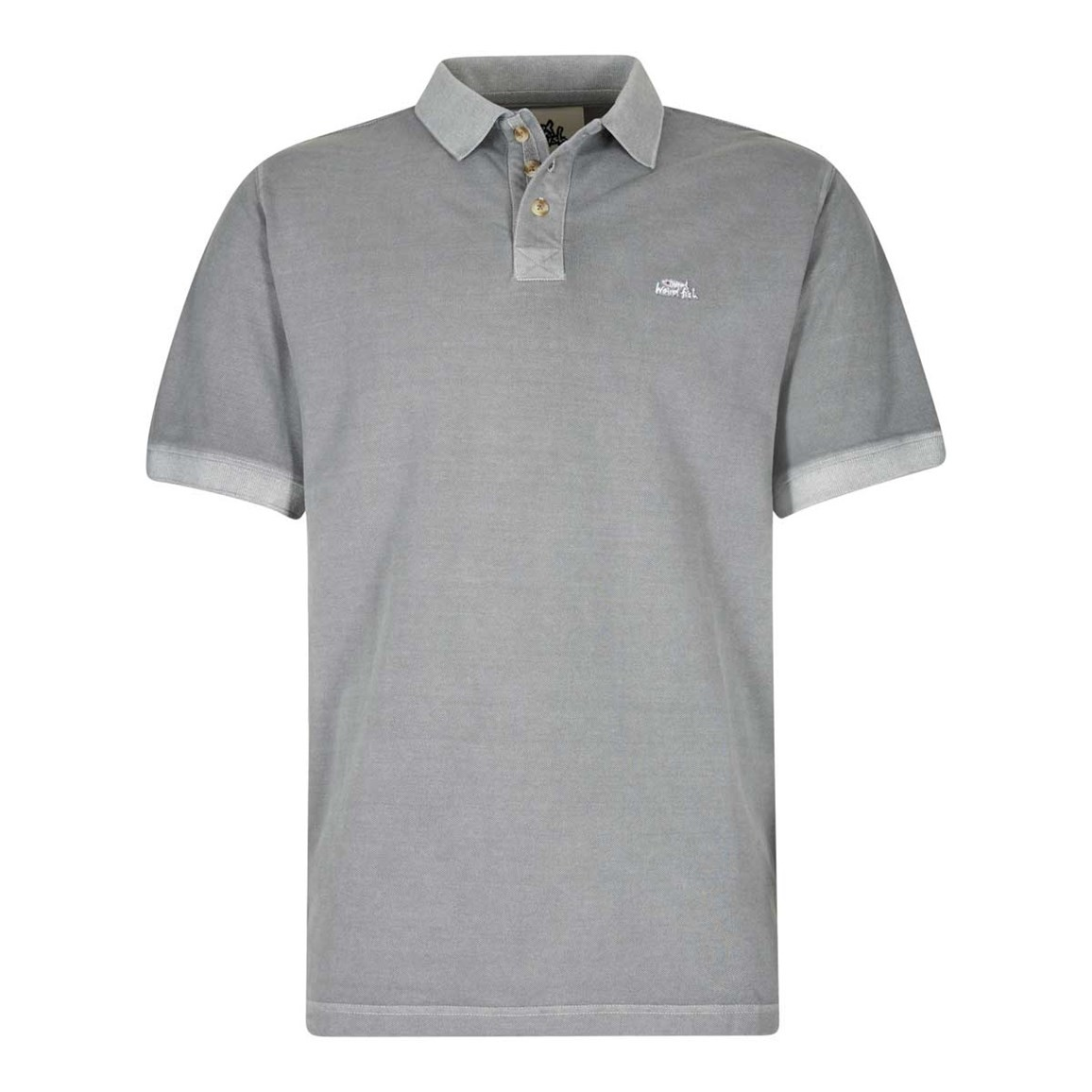 Weird Fish Edwin Garment Dyed Polo Shirt Gunmetal