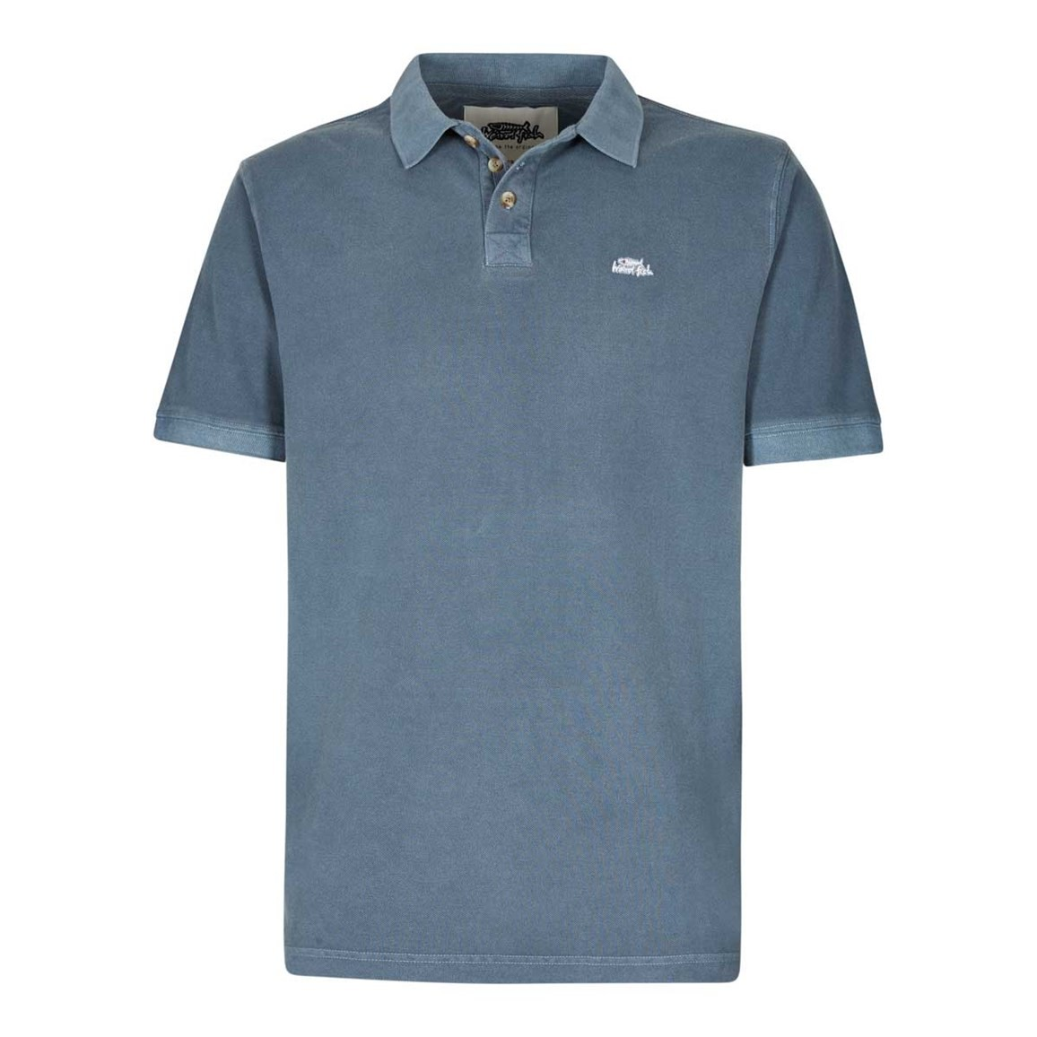 Weird Fish Edwin Garment Dyed Polo Shirt Moonlight Blue