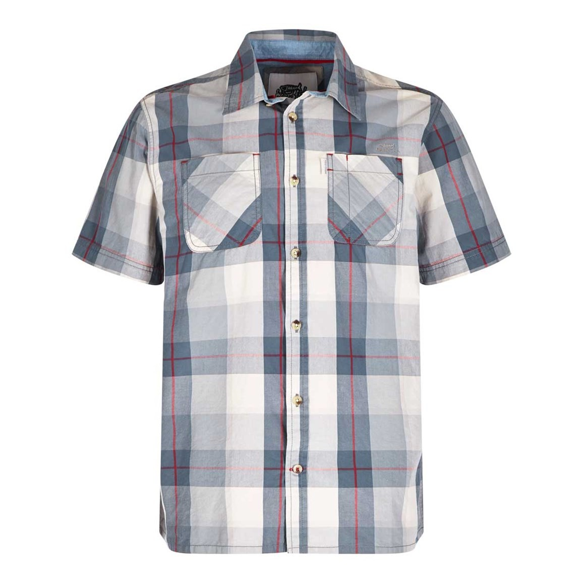 Weird Fish Rewind Cotton Short Sleeve Check Shirt Gunmetal