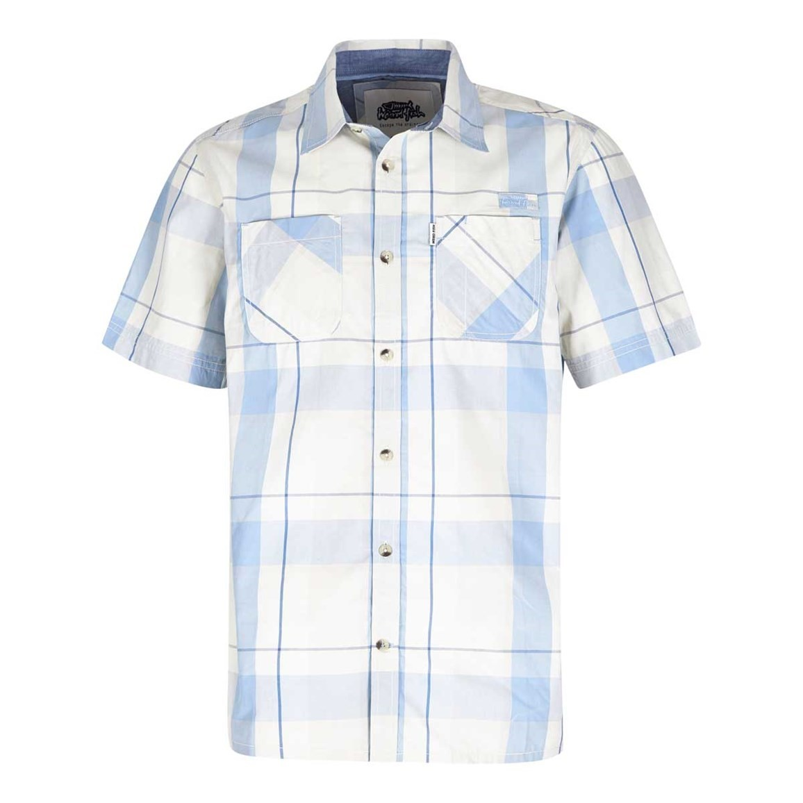 Weird Fish Rewind Cotton Short Sleeve Check Shirt Powder Blue