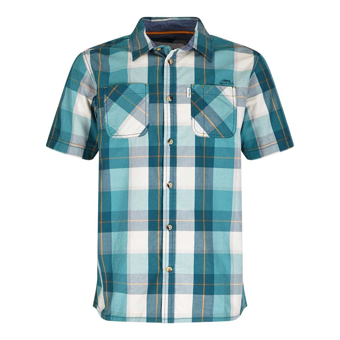 Weird Fish Rewind Cotton Short Sleeve Check Shirt Dark Jade