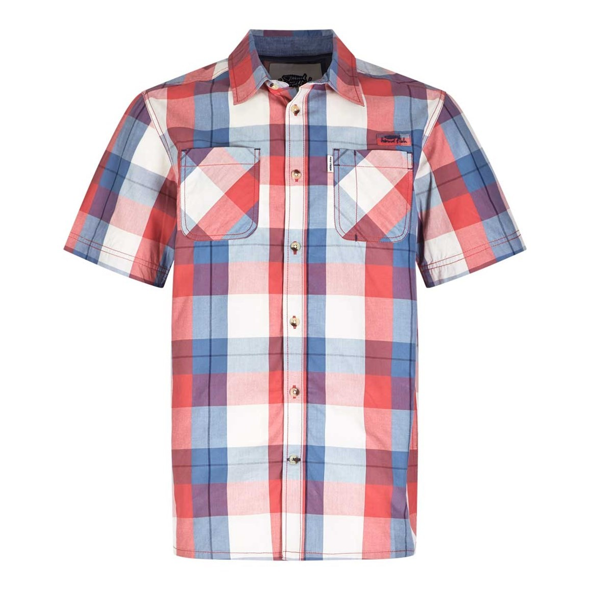 Weird Fish Rewind Cotton Short Sleeve Check Shirt Radical Red
