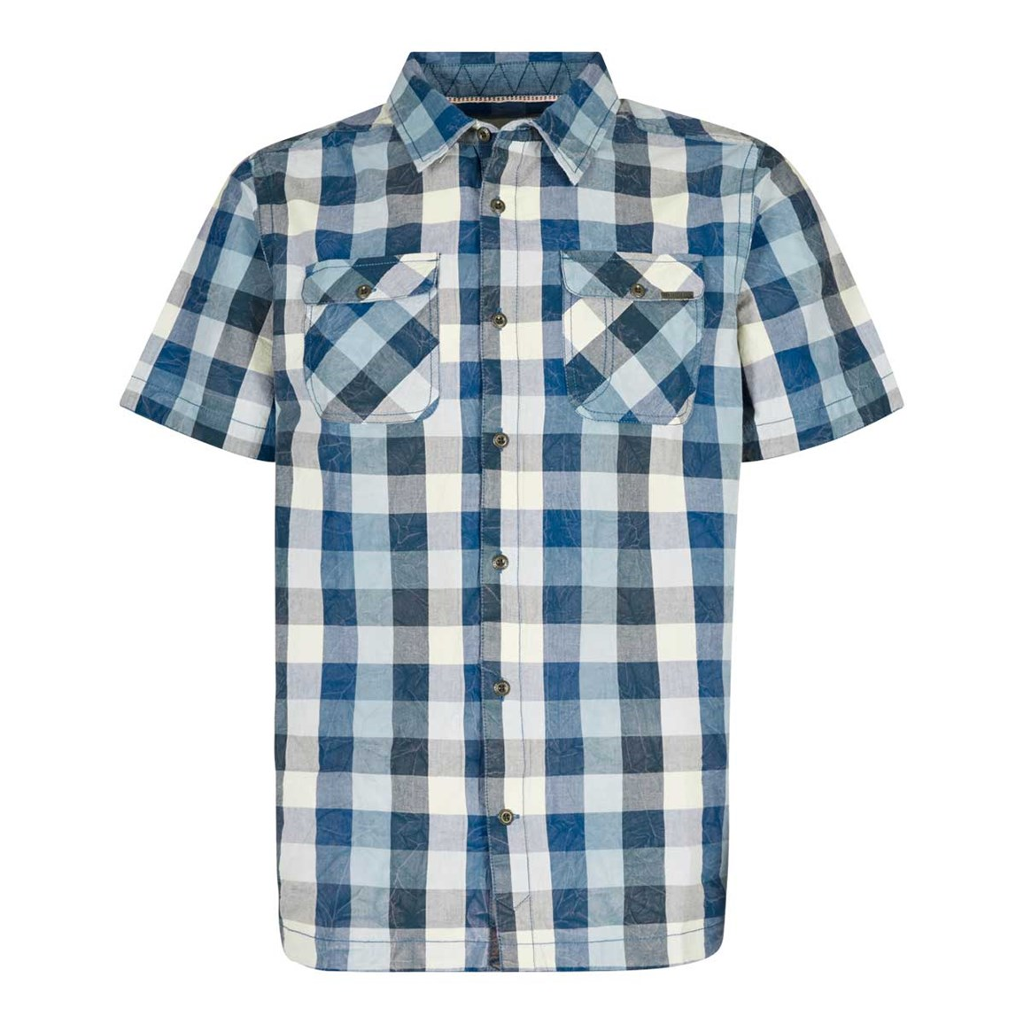 Weird Fish Octane Cotton Short Sleeve Check Shirt Moonlight Blue