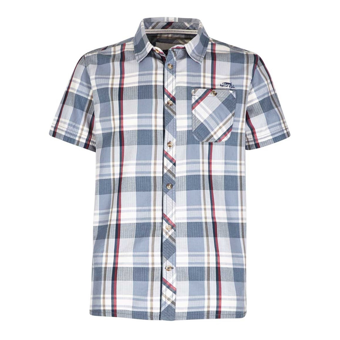 Weird Fish Silverbolt Herringbone Short Sleeve Check Shirt Powder Blue