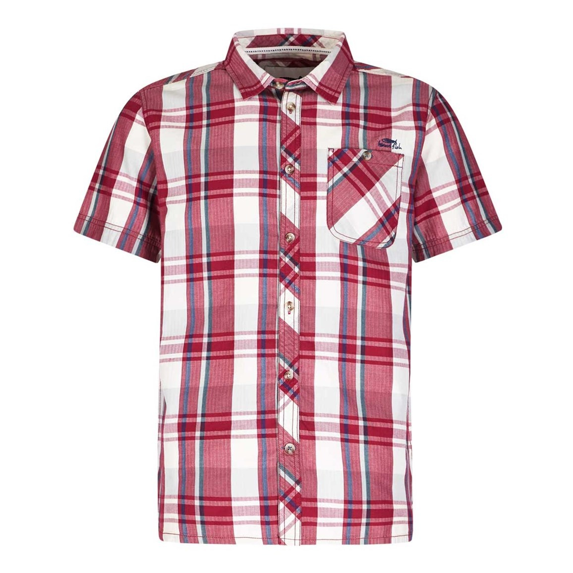 Weird Fish Silverbolt Herringbone Short Sleeve Check Shirt Barberry Red