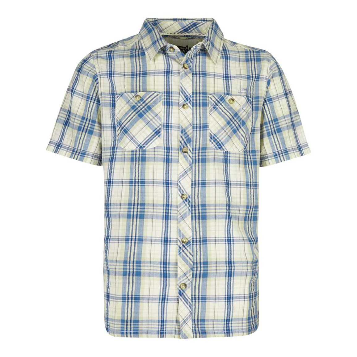 Weird Fish Dirge Seersucker Short Sleeve Check Shirt Washed Blue