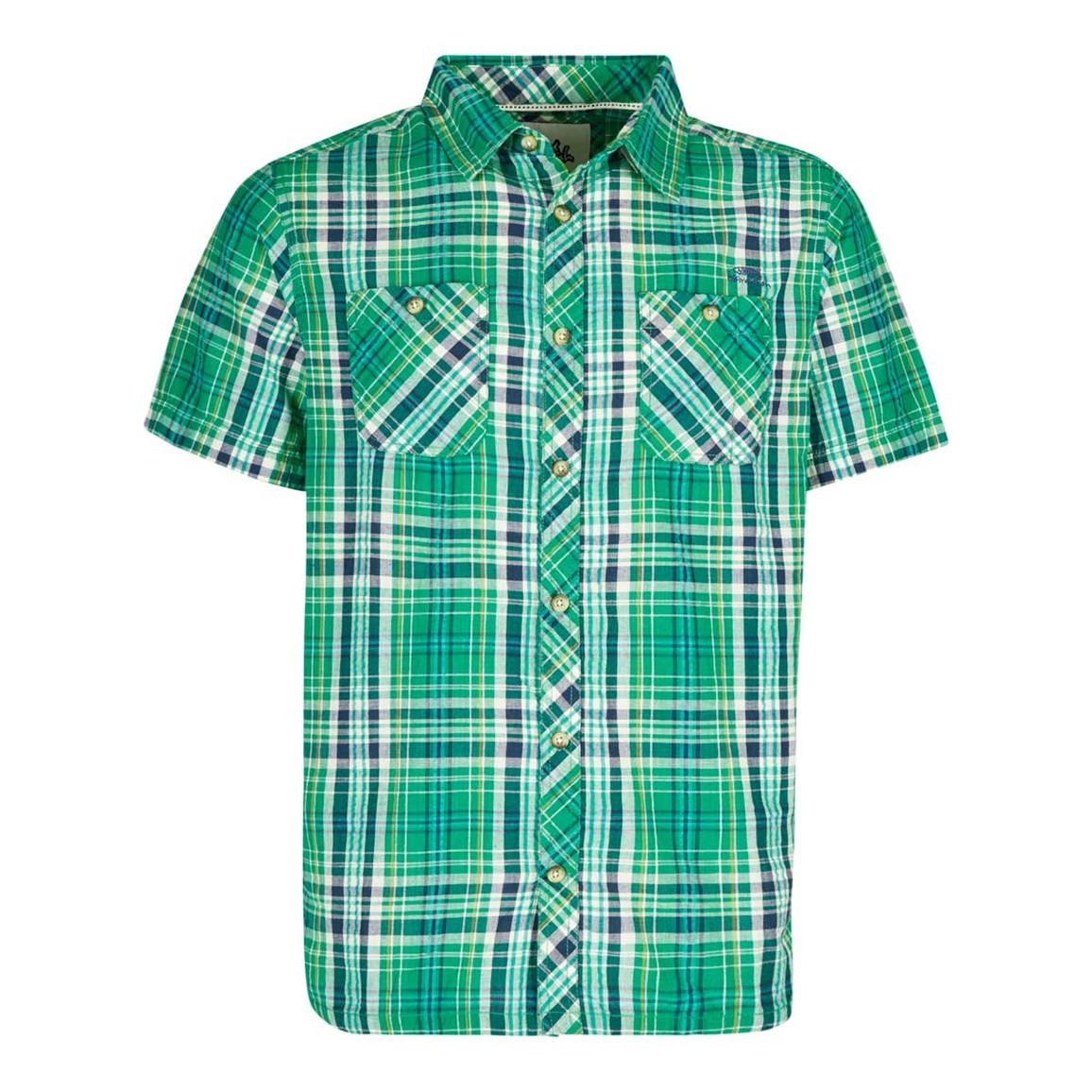 Weird Fish Dirge Seersucker Short Sleeve Check Shirt Bright Green