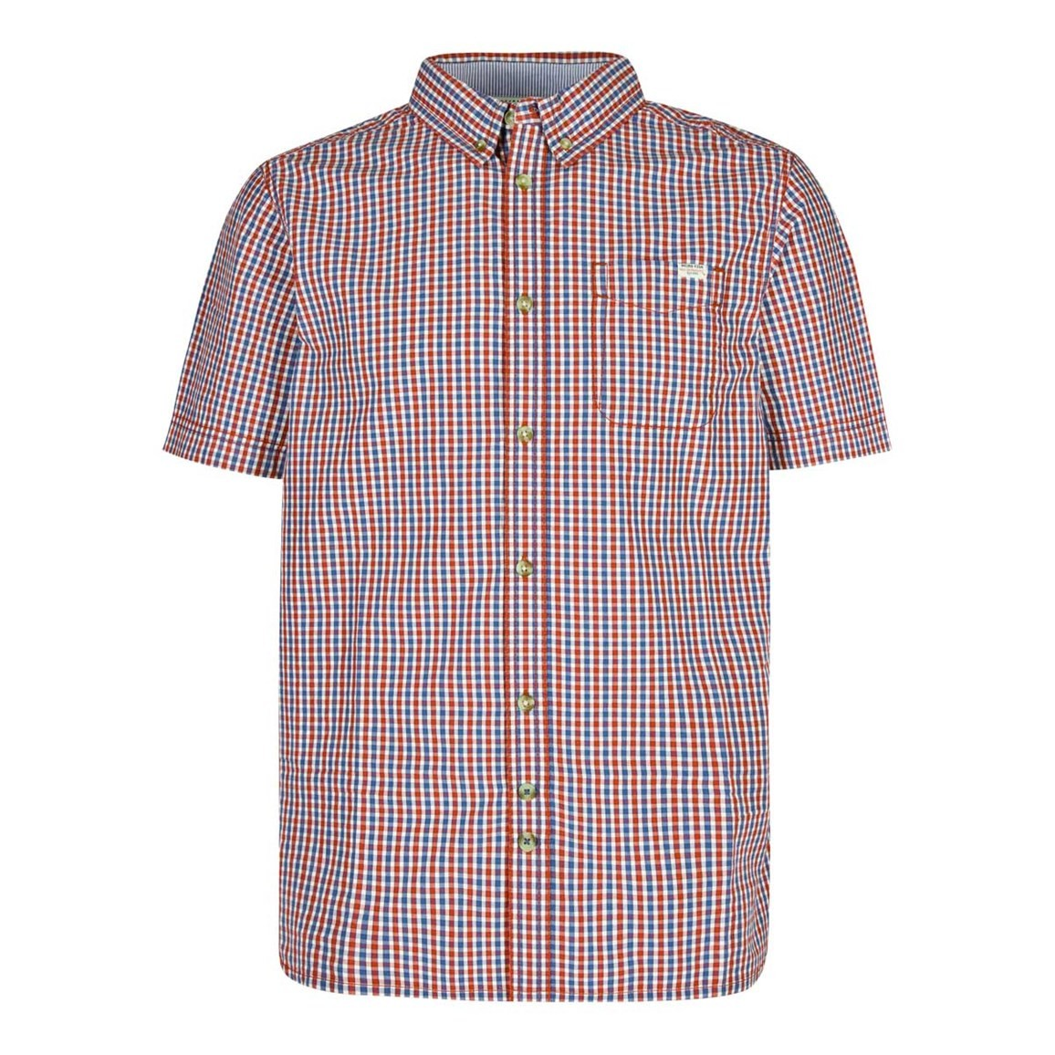 Weird Fish Prowl Cotton Mini Check Short Sleeve Shirt Barberry Red