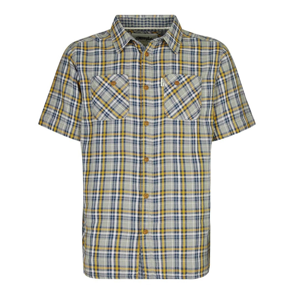 Weird Fish Tracks Double Faced Short Sleeve Check Shirt Old Gold