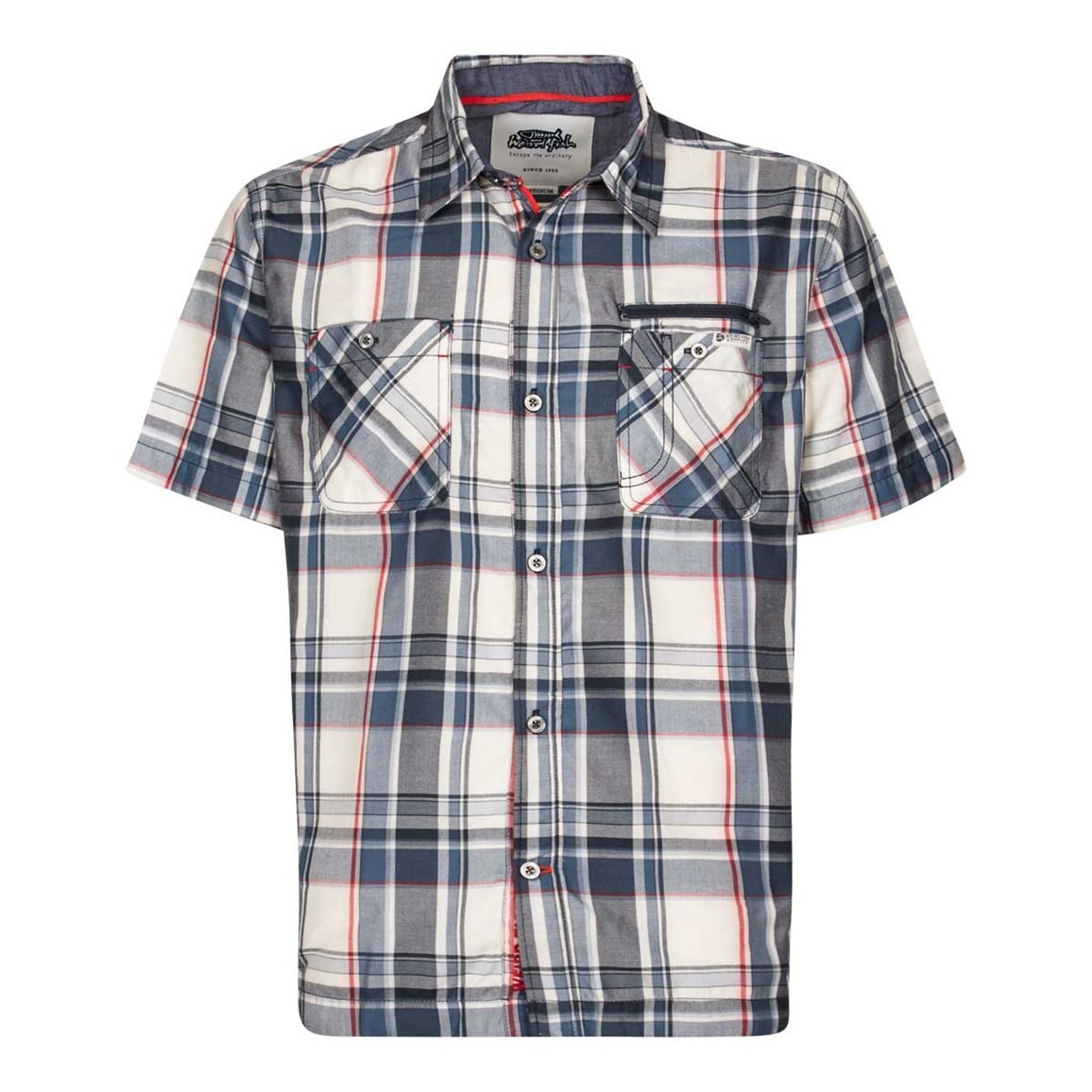Weird Fish Kup Technical Short Sleeve Check Shirt Moonlight Blue