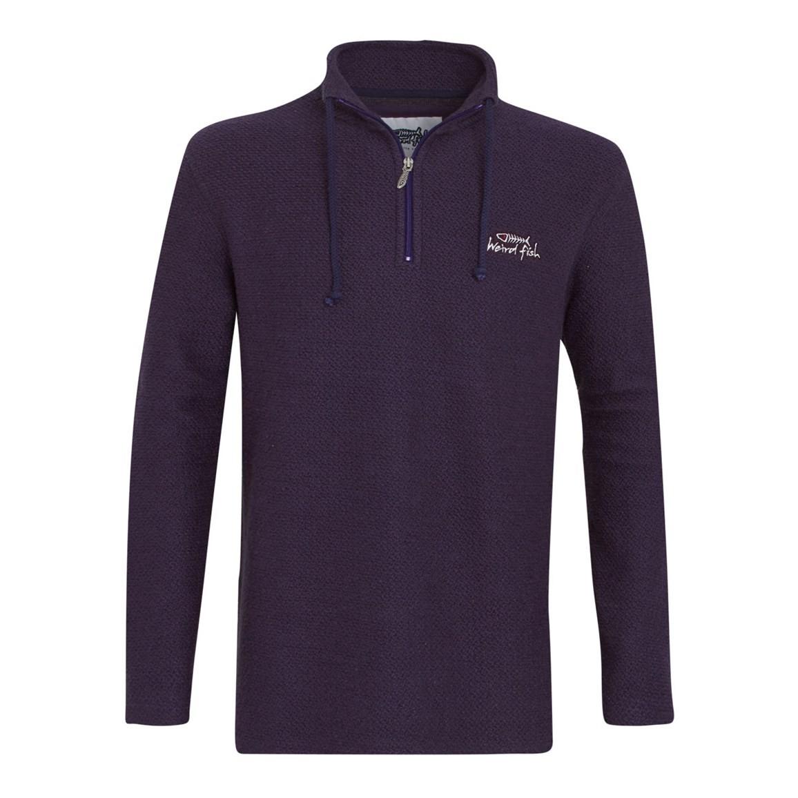 Image of Weird Fish Cruiser 1/4 Zip Classic Macaroni Sweatshirt Purple Size XL
