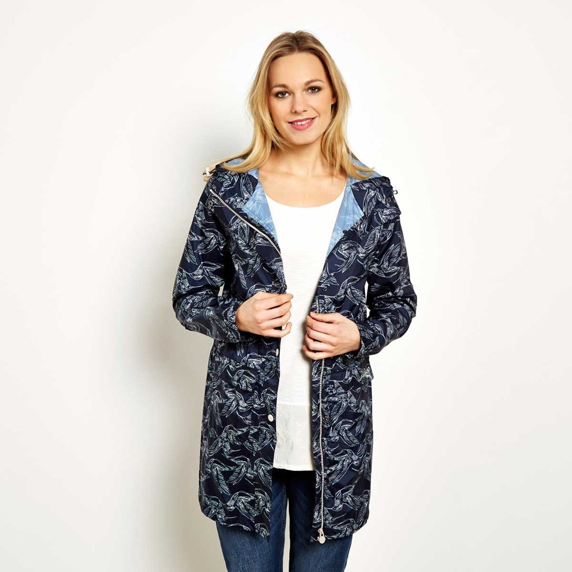 Printed Fully Waterproof Jacket Navy