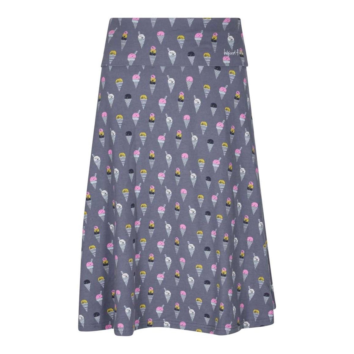 Weird Fish Malmo Printed Jersey Skirt Denim