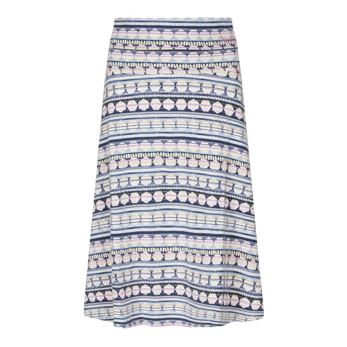 Weird Fish Malmo Printed Jersey Skirt Blue Surf