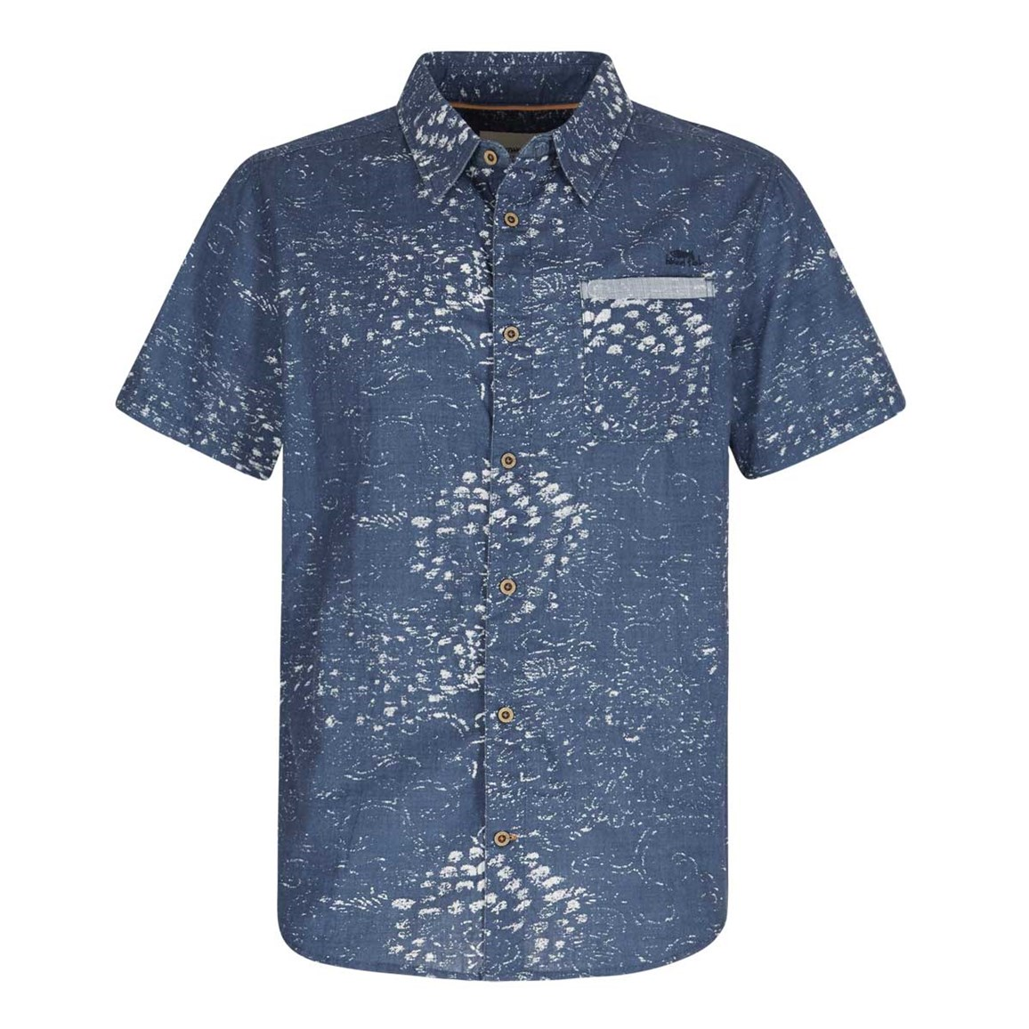 Weird Fish Elijah Short Sleeve Printed Slub Shirt Ensign Blue