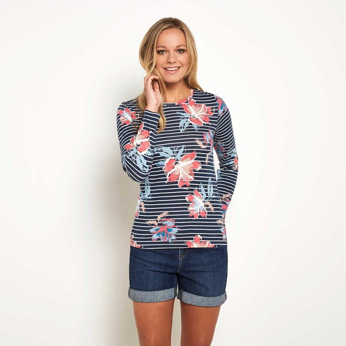 Weird Fish Henna Stripe and Print T-Shirt Navy