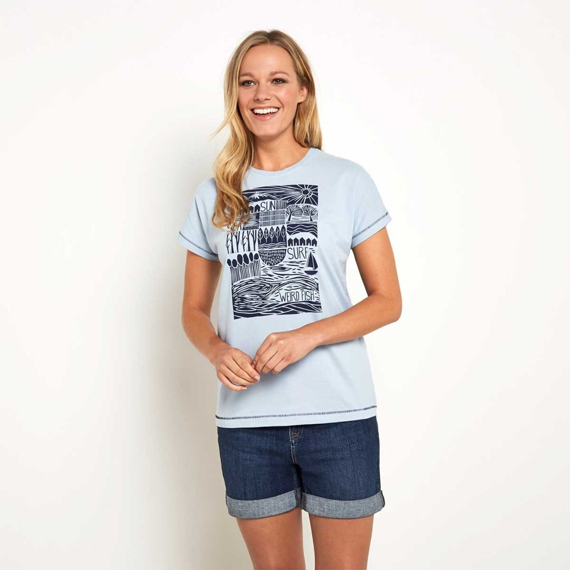 Meadow Graphic Print T-Shirt Blue Surf