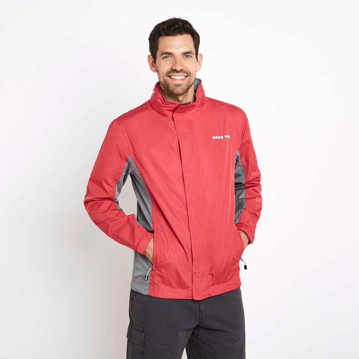 Weird Fish Fighter Waterproof Ripstop Jacket Barberry Red