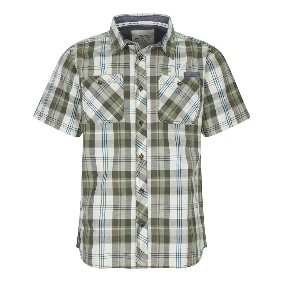 Weird Fish Mammon Checked Short Sleeve Cotton Shirt Dark Olive
