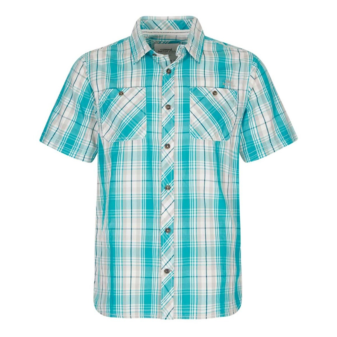 Weird Fish Kale Cotton Short Sleeve Checked Shirt Ocean Blue