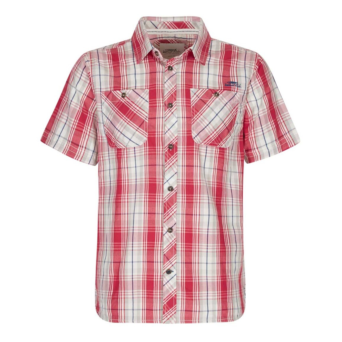 Weird Fish Kale Cotton Short Sleeve Checked Shirt Barberry Red
