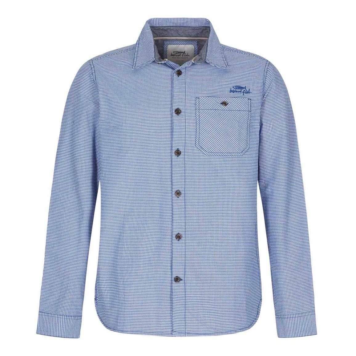 Weird Fish Lancelot Long Sleeve Check Shirt Blue