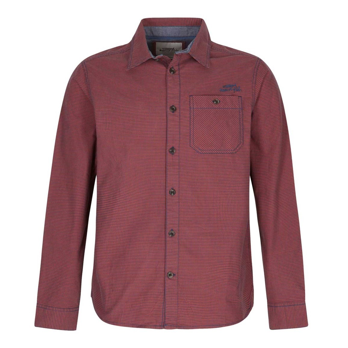 Weird Fish Lancelot Long Sleeve Check Shirt Barberry Red