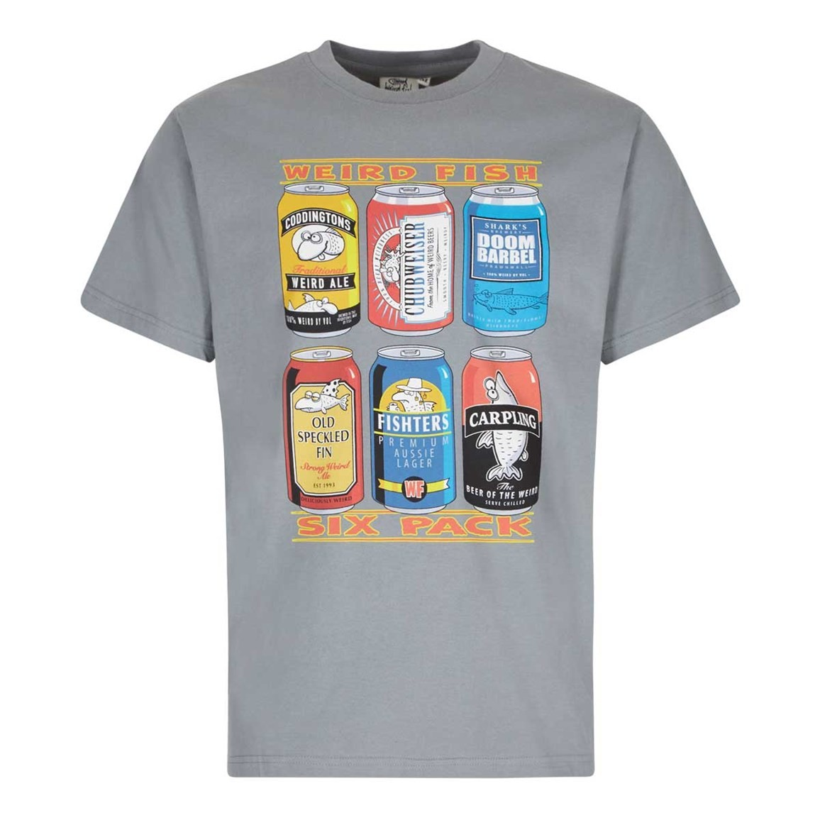 Image of Weird Fish 6 Pack Beer Cans Artist T-Shirt Grey Blue Size 2XL