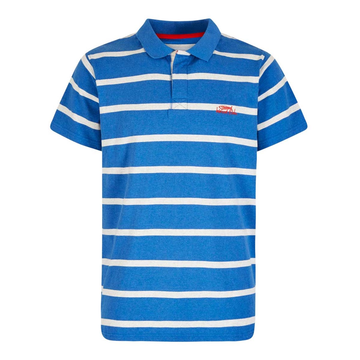 Weird Fish Turing Striped Polo Shirt Cobolt Blue