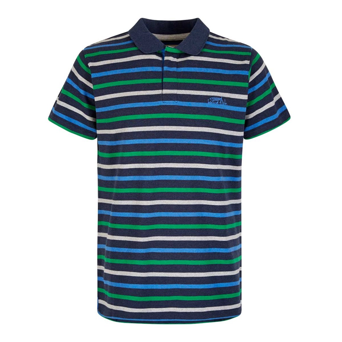 Weird Fish Anning Striped Polo Shirt Black