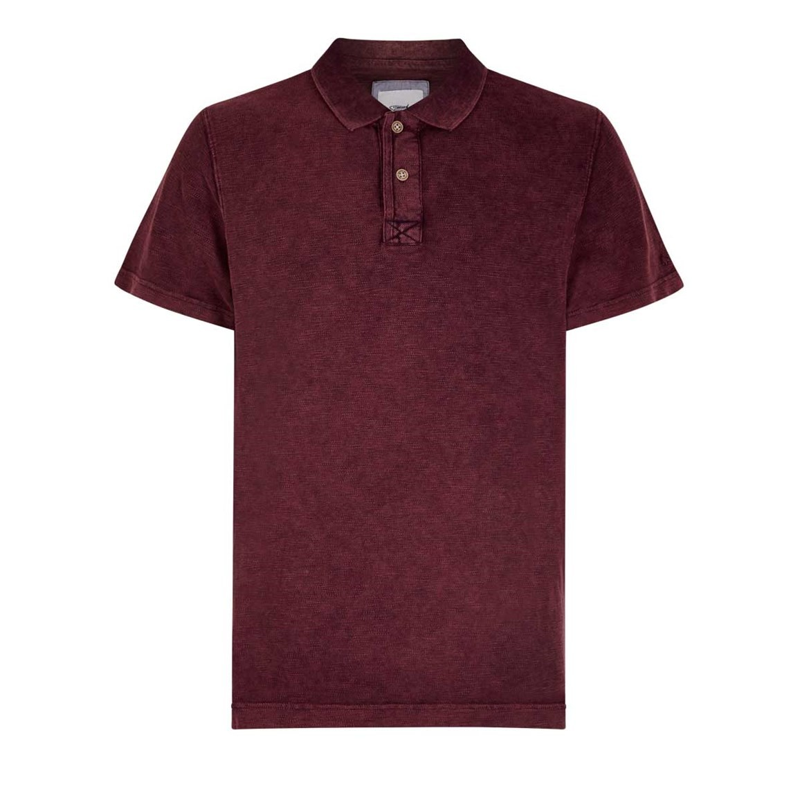 Weird Fish Anchorage Dip Dyed Slub Pique Polo Shirt Dark Wine
