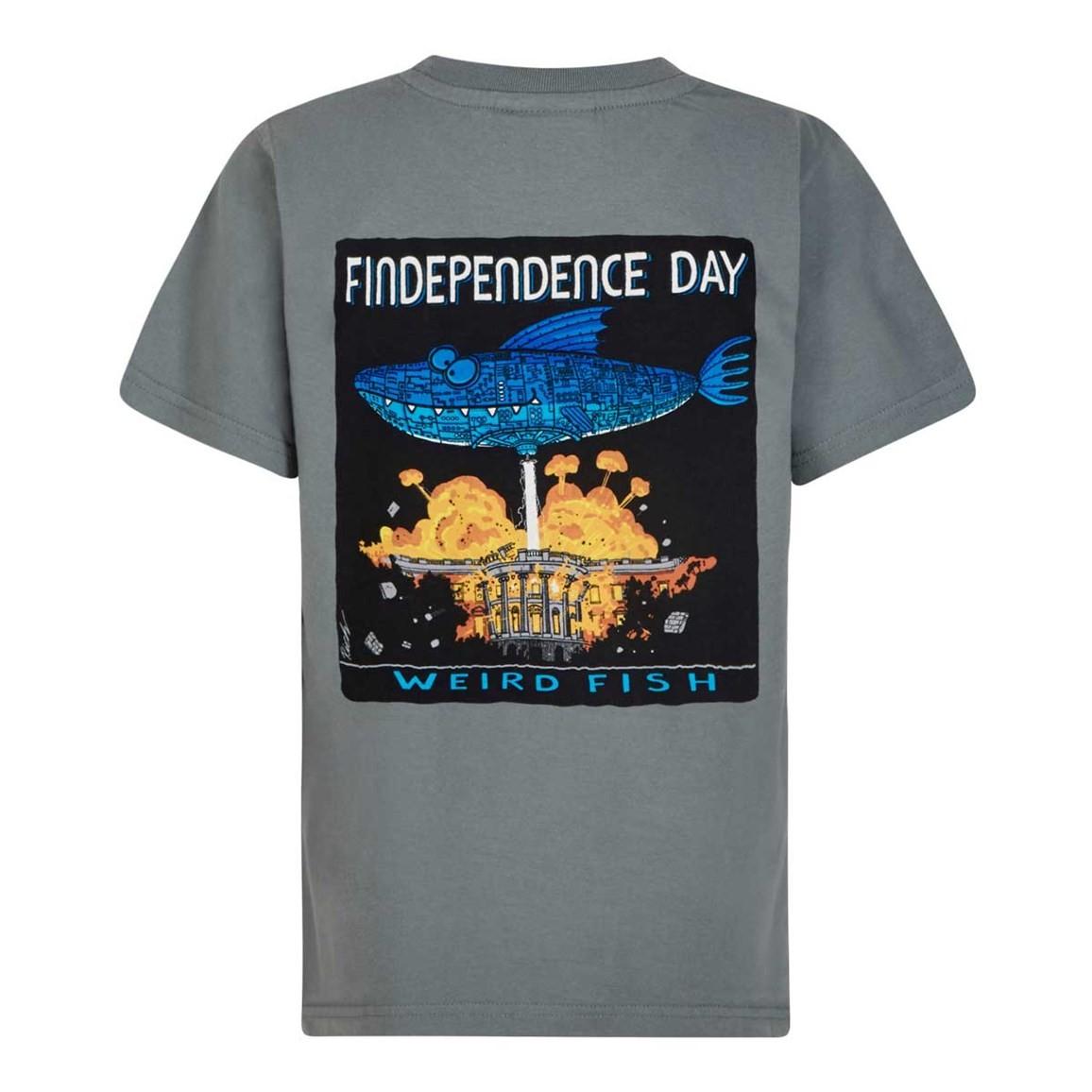 Weird Fish Findependence Artist T-Shirt Grey Blue Size 11-12