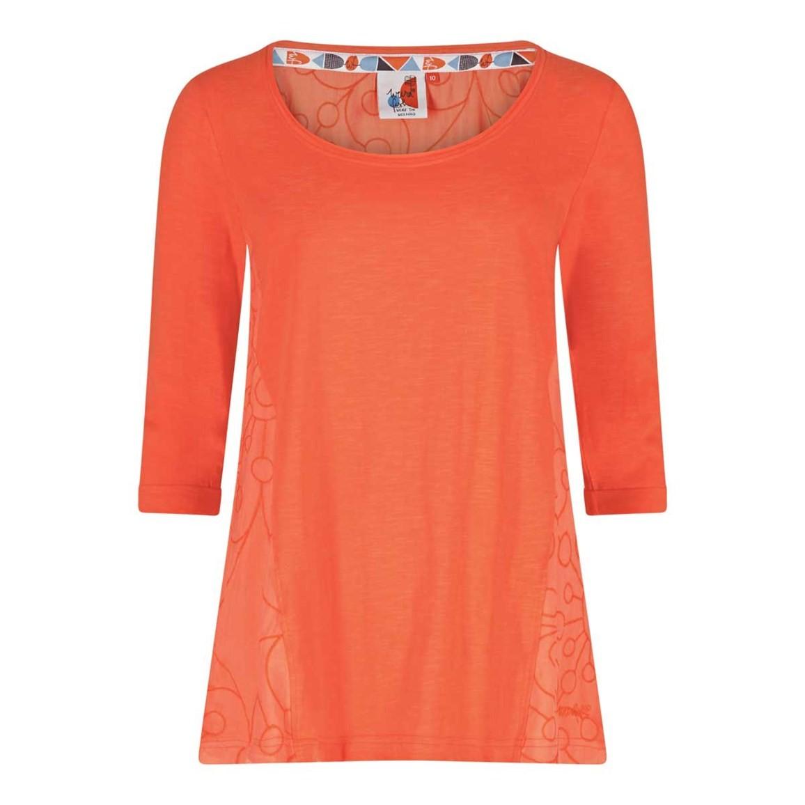 Weird Fish Saffron 3/4 Sleeve Embroidered T-Shirt Clementine Size 10