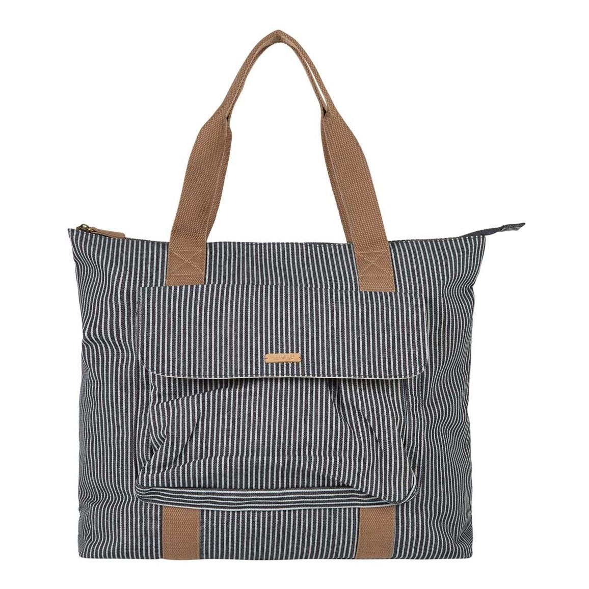 Weird Fish Tali Pinstripe Shopper Bag Dark Navy Size ONE