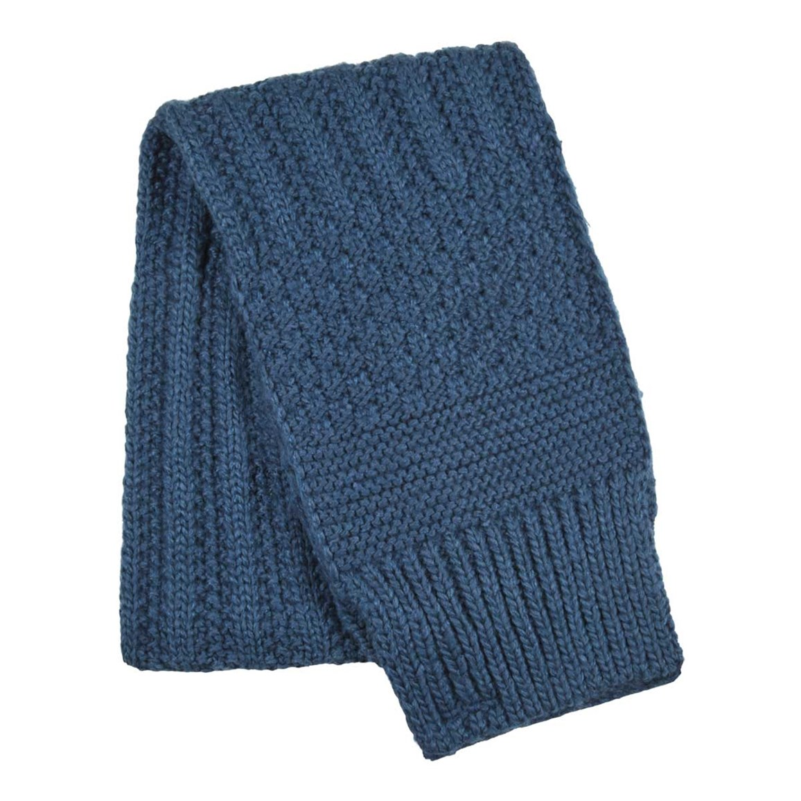 Weird Fish Shiga Cable Knit Scarf Ensign Blue
