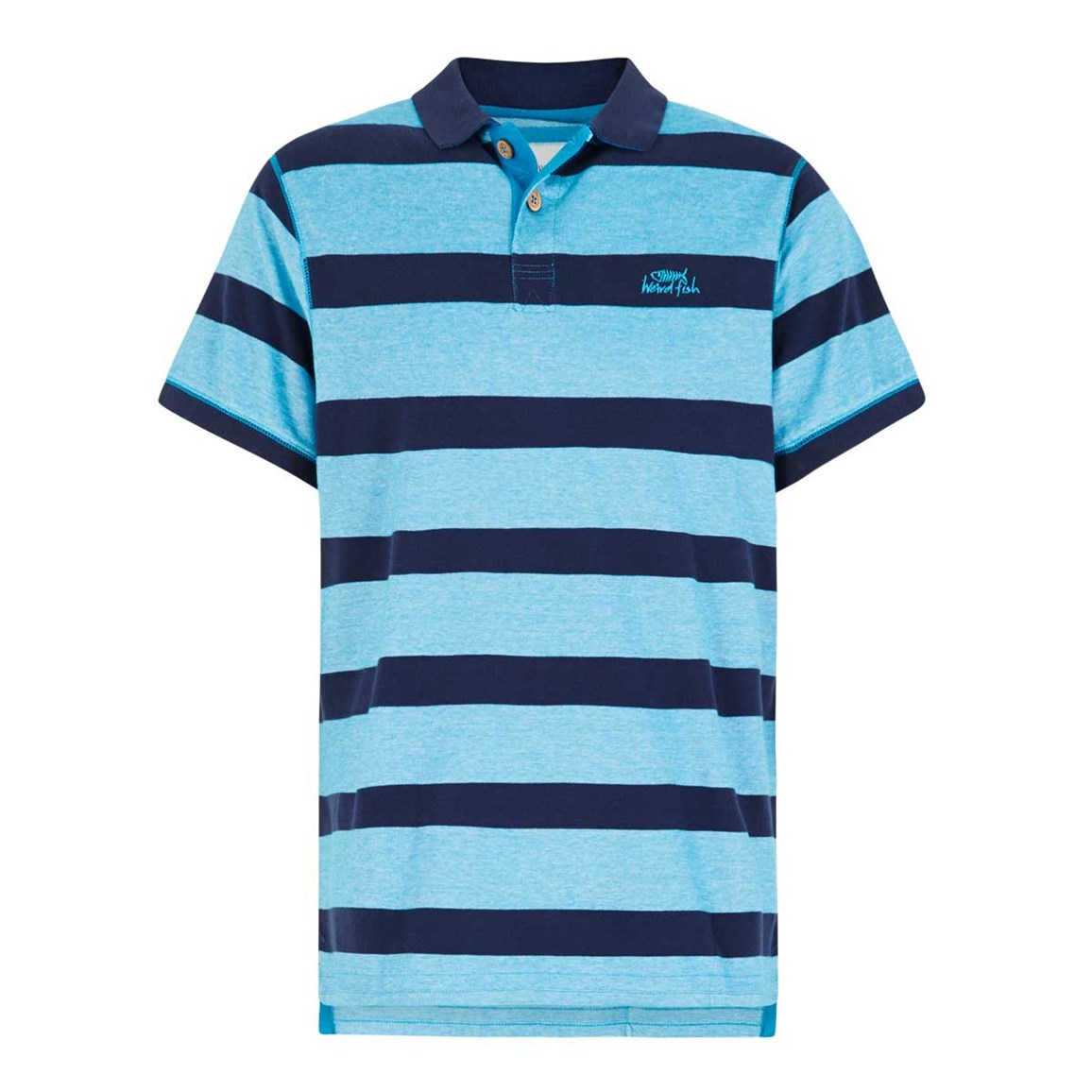 Weird Fish Torres Striped Pique Polo Shirt Blue Jay